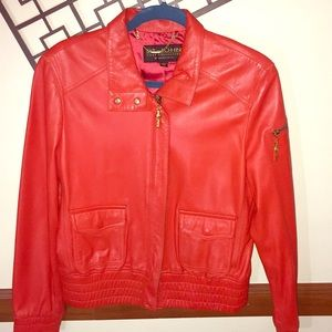 St. John by Marie Gray Leather Bomber